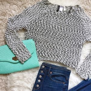 NWOT Cropped Fuzzy Sweater